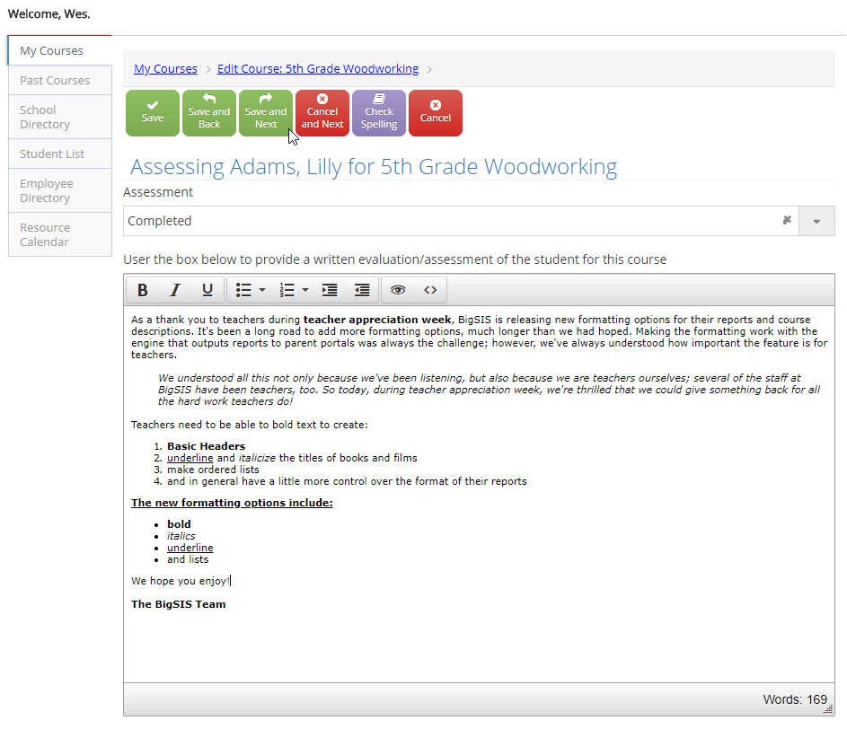 New Formatting for Teacher Reports